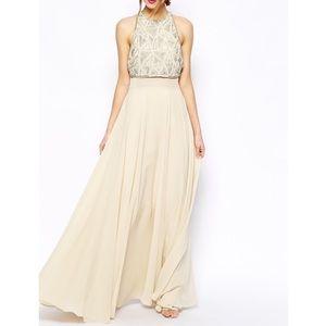ASOS beaded crop top maxi dress